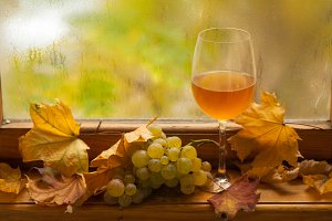 White wine in autumn