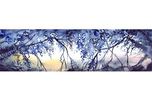 Watercolor tree branches landscape
