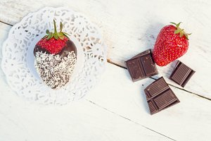Strawberries covered with a chocolate
