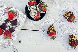Strawberries covered chocolate