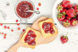 Toasts with strawberry jam