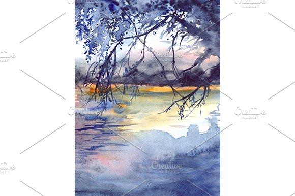 Watercolor Sunset River Landscape