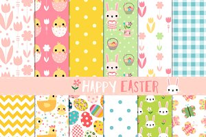Cute Easter digital paper pack