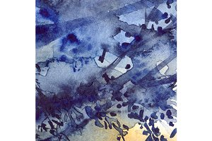 Watercolor navy blue foliage texture