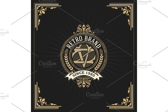 Retro Card Design With Floral Details Organized By Layers