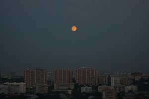 The moon over the city.