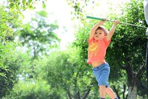 Little Boy Playing Golf Summer Sport