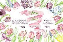 watercolor clipart spring mood