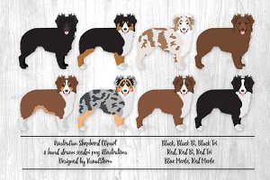 Australian Shepherd Illustrations