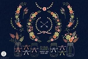 Floral frames mason jars invites