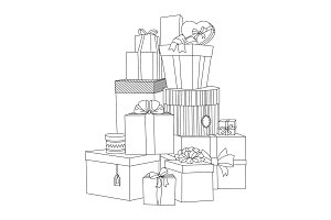 Big pile of wrapped gift boxes. Beautiful box. Gift box. Isolated vector present illustration. Coloring book