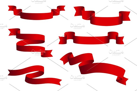 Red Glossy Ribbon Vector Banners Set Ribbons Collection Isolated On White Background