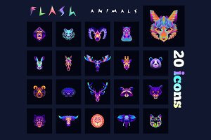 Animal multicolored icons