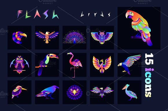 Bird Multicolored Icons