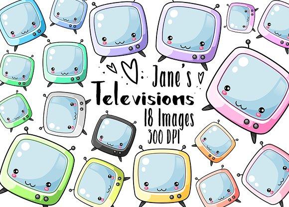 Kawaii TVs Clipart