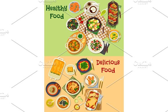 Meat Seafood Dishes Icon For Healthy Food Design