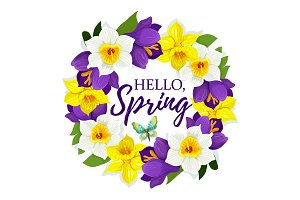 Hello Spring daffodil flowers vector floral poster