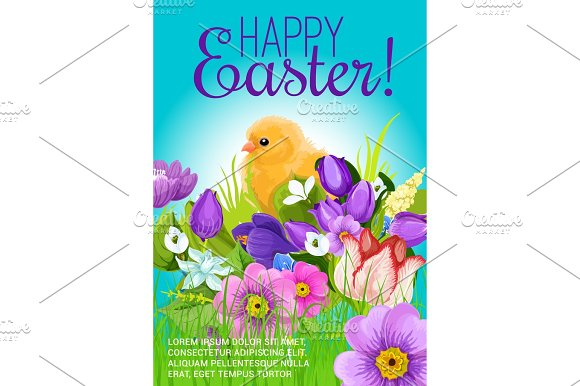 Easter Greeting Vector Poster Of Chick And Flowers