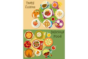 British, thai and finnish cuisine icon set design
