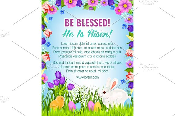Happy Easter Eggs Bunnies Vector Greeting Poster