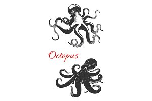 Octopus marine animal icon set for tattoo design