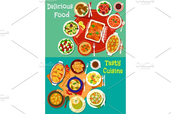 Healthy Food Dish Icon Set For Dinner Menu Design