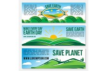 Vector Save Planet Nature banners for Earth Day