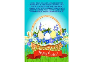 Happy Easter eggs basket vector greeting poster