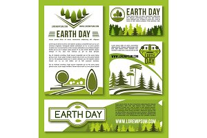 Vector posters and banners Earth Day templates set