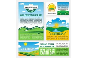 Vector Save Planet Nature templates for Earth Day