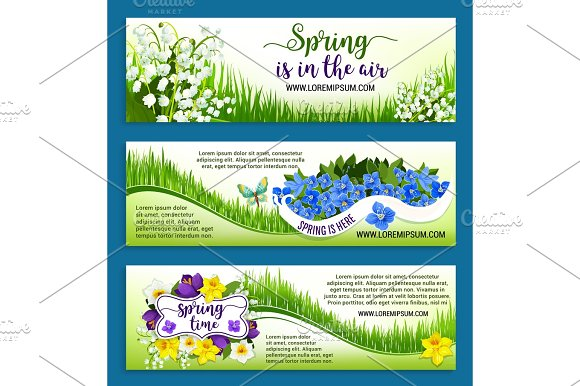 Hello Spring Flowers Wreath Vector Banners Set