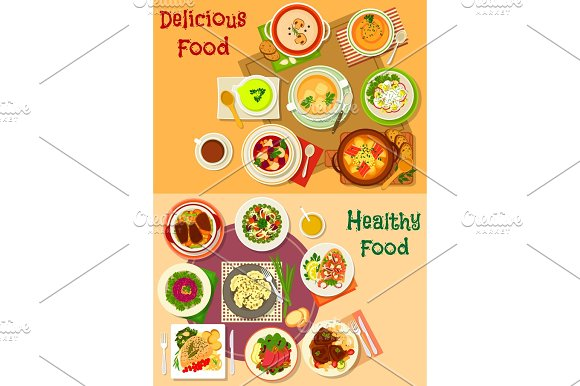 Soup Salad And Meat Dishes Icon Set Design