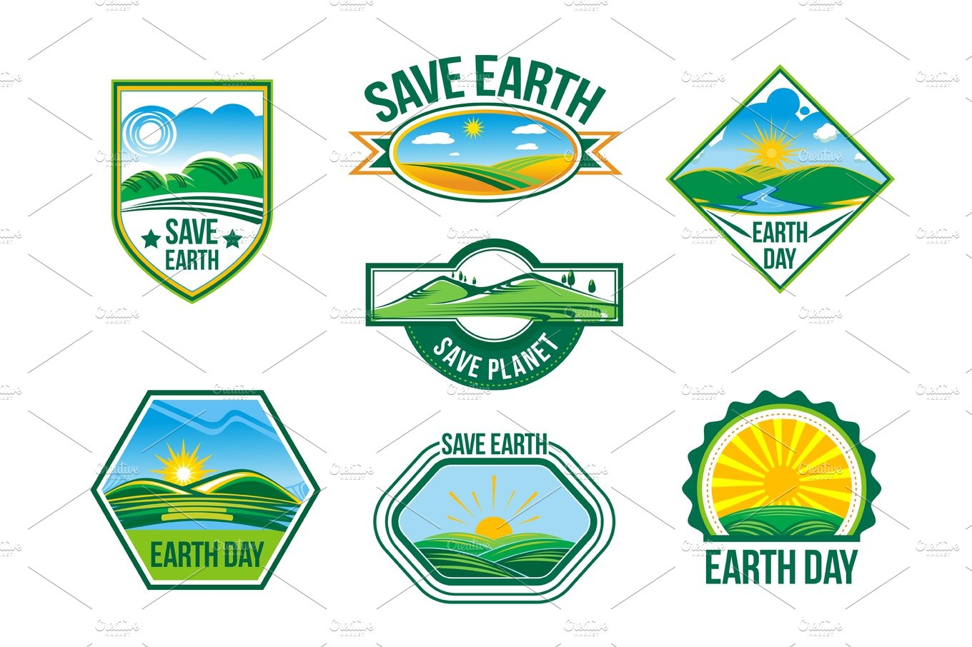 Save earth vector nature ecology badges set illustrations save earth vector nature ecology badges set illustrations creative market buycottarizona