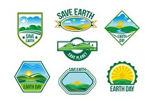 Save Earth vector nature ecology badges set