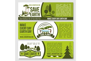 Save nature planet earth protection vector banners