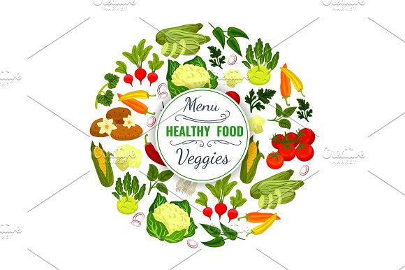 Vegetables Or Veggies Food Vector Poster