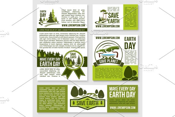 Vector Templates Earth Day Nature Protection Event