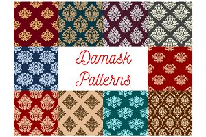 Damask floral baroque samless vector patterns set