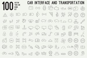 100 thin line car interface icons