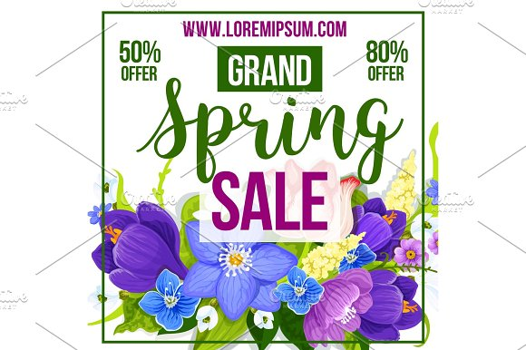 Spring Sale Discount Vector Flower Poster Template