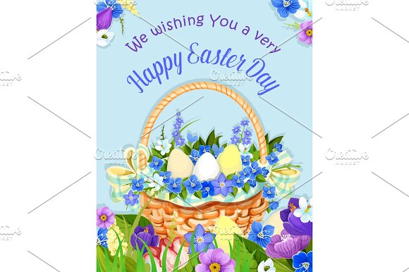 Easter Eggs Basket Vector Paschal Poster Design