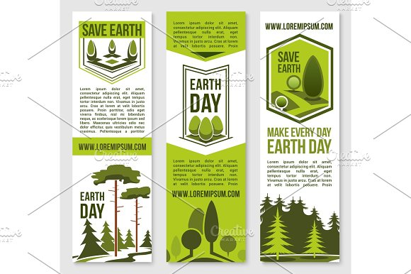 Save Earth Planet Nature Vector Banners Template