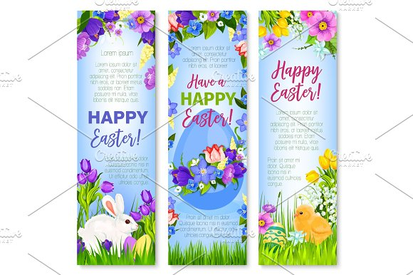 Happy Easter Eggs Bunnies Vector Greeting Banners