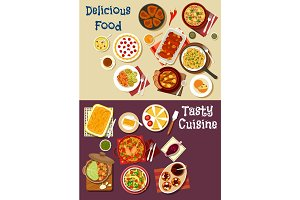 Mediterranean and asian cuisine icon set design