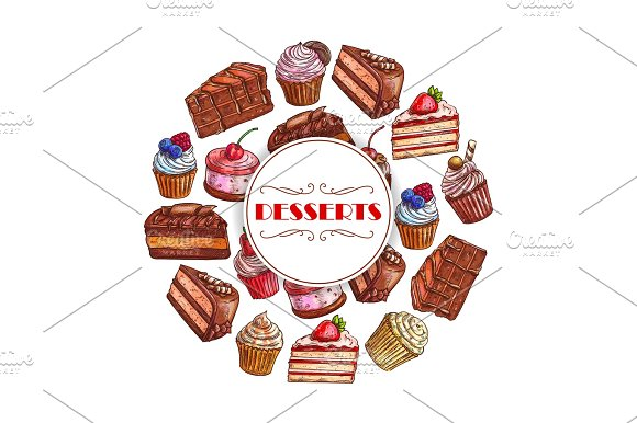 Dessert Cakes And Cupcakes Vector Poster