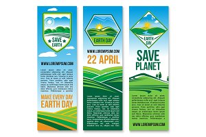 Vector Earth Day banners for Save Planet Nature