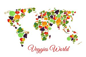 Veggies and vegetables world map vector