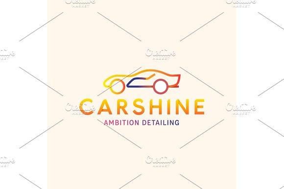 Logo Machine Car Shine Vector Line Outline Mark Color