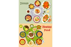 Healthy festive dinner icon set for menu design