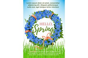 Spring poster holiday crocus flowers vector wreath